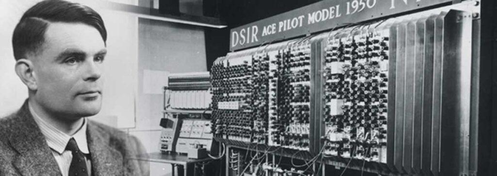 نمایی از ماشین بامب آلن ماتیسون تورینگ (به انگلیسی: Alan Mathison Turing) (۲۳ ژوئن ۱۹۱۲ — ۷ ژوئن ۱۹۵۴) ریاضیدان، دانشمند رایانه، منطقدان، فیلسوف، زیست-ریاضیدان و رمزنگار انگلیسی بود.  تورینگ بهعنوان پدر علوم کامپیوتر و هوش مصنوعی شناخته شده و مهمترین جایزهٔ علمی رایانه به افتخار وی جایزهٔ تورینگ نام گرفتهاست. او دارای نشان ویژهٔ سلطنتی انگلستان و نیز عضو پیوستهٔ کالج سلطنتی بود.